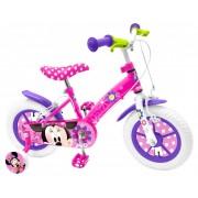 """Bicicleta pentru fete ajustabila din otel cu roti ajutatoare,spite din plastic rezistent 14"""" Stamp Minnie Mouse"""