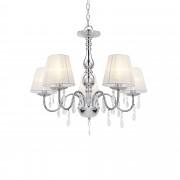 [lux.pro] Csillár elegáns 5 ágú mennyezeti lámpa Gallen 45 x Ø 54 cm műkristály diszítéssel fehér