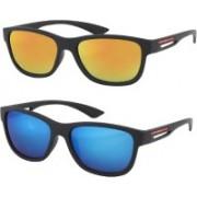 FASHNO Wayfarer Sunglasses(Golden, Blue)