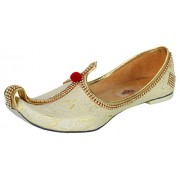 Krafto Men's Light Gold Fabric Tri Rhinestone Mojaris - 10 UK