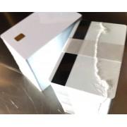 Confezione da 200 Tessere 0,76 mm Bianche Neutre PVC CHIP SLE4442 con banda magnetica HiCo
