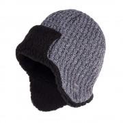 Zimowa czapka, uszatka męska - Jasnoszara mulina
