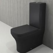 Toiletpot Set Staand Letta 65x36,5x90cm Keramiek Diepspoel Nano Coating EasyClean Rimfree Mat Antraciet met Toiletbril