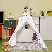 Love Tree Four Poles Kids Tent Black Triangle Printed Teepee Children Play Tent Game house