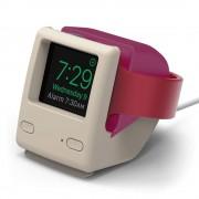 Elago W4 Watch Stand - силиконова винтидж поставка в стила на Apple iMac (1998) за Apple Watch (розова)