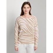 TOM TAILOR MINE TO FIVE Sweater in zebra patroon, ecru zebra design, XXL