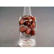 Inel bijuterie dantelat cu pietre maro-roscat
