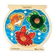 Melissa & Doug Personalized Fish Bowl Jumbo Knob Wooden Puzzle