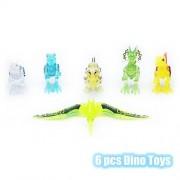 Dorras 6pcs Dino Toys, Dinosaur Building Blocks Playsets Miniature Action Figures Art & Craft Sets