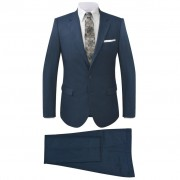 vidaXL kétrészes kockás férfiöltöny kék 46-os méret
