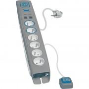 OTIO přepěťová ochrana délka 1,5 m se 6 zásuvkami, 2xUSB a 2xRJ11 ve stříbrném provedení (760051)