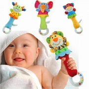 Angela Soft Plush Animal Baby Rattle Toy Take Along with Safety 4 Style in One Set
