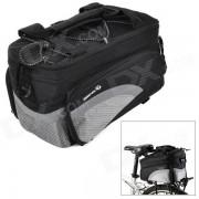 ROSWHEEL 14236 bicicleta de nylon al aire libre ampliable bolsa trasera con correa de hombro - plata + negro