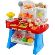 VB Kid's Luxury Supermarket Shop with Candy Sweet Shopping Cart, Ice Cream Role Playset Toy for Kids