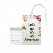 100yellow Luggage Tags- Let's go on an adventure Print PVC Travel/Bag Tag with Silicon Strap- Ideal For Travel Luggage Tag(Multicolor)