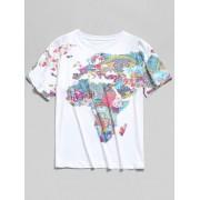 Zaful T-shirt Peinture Carte du Monde Imprimée à Manches Courtes Multi XL