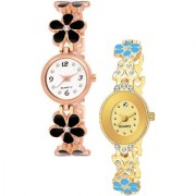 Varni Retail Blck Flower Belt And Gold Oval Dial Chai Watch 2 Combo Watch For Girls