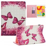 3D Pattern Printing PU Leather Stand Shell Tablet Case for iPad 10.2 (2019) - Red Butterflies