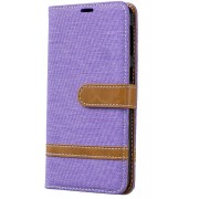 Samsung Galaxy A40 Hoesje - Denim Book Case - Paars