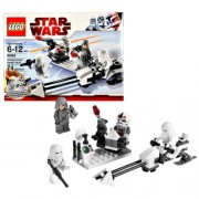 Lego Year 2010 Star Wars Movie Series The Empire Strikes Back Set 8084 - SNOWTROOPER Battle Pack with Battle Station Imperial Speeder Bike 2 Snowtroopers 1 Imperial Officer and 1 AT-AT Driver with New Helmet Minifigures Total Pieces 74