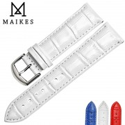 MAIKES New Genuine Leather Watchbands 16mm 18mm 20mm 22mm White Watch Bracelet Watch Strap Band Watch Accessories Case For CASIO