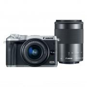 Canon EOS M6 systeemcamera Zilver + 15-45mm Zwart + 55-200mm Zwart