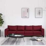 vidaXL 4-местен диван, виненочервен, текстил
