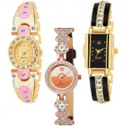 Varni Retail GoldPink Oval Diamond RoseGold Round Dial Black Rectangle Middle Dmd Belt 3 Combo Watch For Girls
