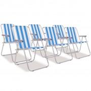 vidaXL Cadeiras de campismo dobráveis 6 pcs aço azul e branco