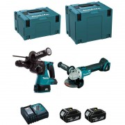 MAKITA Kit DLX2125MJ1 (DGA504 + DHR243 + 2 x 4,0 Ah + DC18RC + MAKPAC 3