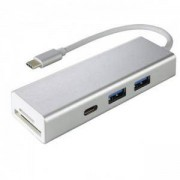 4-портов хъб HAMA USB 3.1 Type-C Aluminium, 2 x USB-A, 1 x USB-C, Card Reader, Сребрист, HAMA-135759
