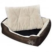 vidaXL Топло кучешко легло с подплатена възглавница, размер M