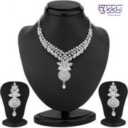 Sukkhi Modern Rhodium Plated Austrian Diamond Necklace Set