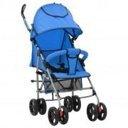 vidaXL 2-в-1 Сгъваема детска количка/бъги, синя, стомана
