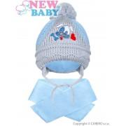 NEW BABY Zimní dětská čepička se šálou New Baby pejsek světle modrá