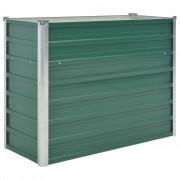vidaXL Vaso/floreira de jardim em aço galvanizado 100x40x77 cm verde