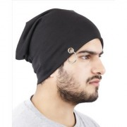 Beanie Stylish Cap Beanie Slouchy cap hat with Ring thin winter/fall Hat (Color Black)