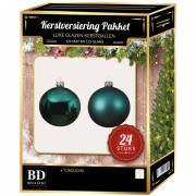 Bellatio Decorations 24 Stuks glazen Kerstballen pakket turquoise blauw 6 cm
