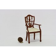 Dollhouse Miniature Hepplewhite Shield Back Walnut Dining Room Arm Chair