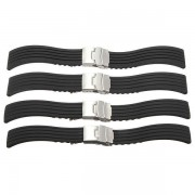 KALOAD 18/20/22/24mm Waterproof Black Strap Replacement Silicone Rubber Sports Watch Band
