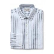 ランズエンド LANDS' END メンズ・ベアードマクナット・アイリッシュリネン・ドレスシャツ/ボタンダウン/スリムフィット/長袖/シャツ(ホワイトマルチストライプ)