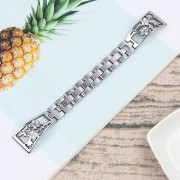 Rhinestone Decor Stainless Steel Watch Band Strap Replacement for Fitbit Versa / Versa Lite - Silver