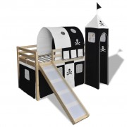 """vidaXL Високо детско легло """"Пирати"""" със стълба и пързалка, натурално дърво"""