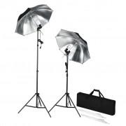 vidaXL Kit de iluminação portátil com tripés e sombrinhas