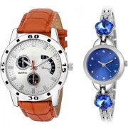 MACRON W-212 Couple Watch Combo Watch Brown Belt Silver Dial with Blue dial watch 212