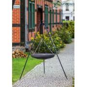 BBQ Schwenkwok, mit Rost aus geschwärtztem Stahl 70 cm und Dreibein Stativ 180 cm Hoch.