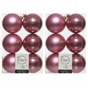 Merkloos 12x Oud roze kerstballen 8 cm kunststof mat/glans - Kerstbal