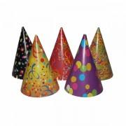 Party csúcsos kalap (mintás), 6 db/csomag
