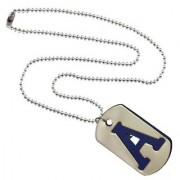 Men Style Alphabet A Letter Silver And Blue 317 L stainless Steel Square Pendent For Men And Women