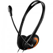 HEADPHONES, CANYON CNS-CHS01BO, Microphone, volume control, cable 1.8M, Black/Orange (5291485002985)